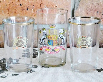 Queen Elizabeth II vintage 1953 Coronation drinking glasses, tumblers; mismatched