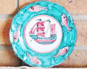 Giordano Vietri Italy ICAV vintage 1930s Art Deco era handpainted decorative plate nautical theme