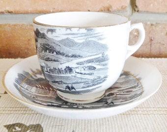 1800s 19th century Pensarn Abergele vintage unmarked souvenir porcelain teacup and saucer
