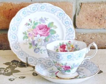 Royal Albert vintage 1940s 'Fragrance' fine bone china floral, chintz trio, reg number 839038, high tea, wedding, engagement gift