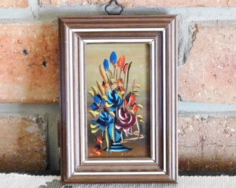 Miniature unsigned Italian oil painting, abstract vase of flowers, 'dipinto a mano', vintage 1960s