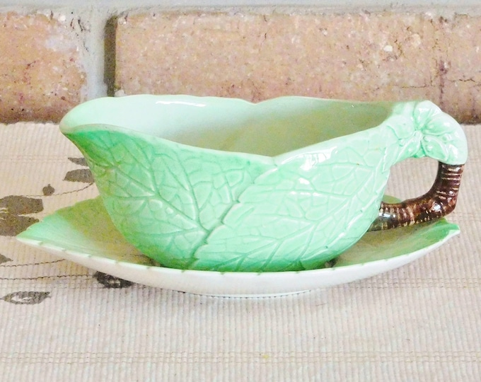 Featured listing image: Carlton Ware 1930s vintage green leaf creamer, sauce jug, milk jug, Australian Design, made in England