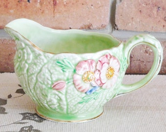 Melba Ware 1940s green majolica porcelain embossed floral creamer, milk jug; housewarming gift, collectible