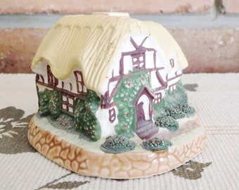 Vintage bisque porcelain unmarked handpainted Tudor cottage 1960s collectible gift idea