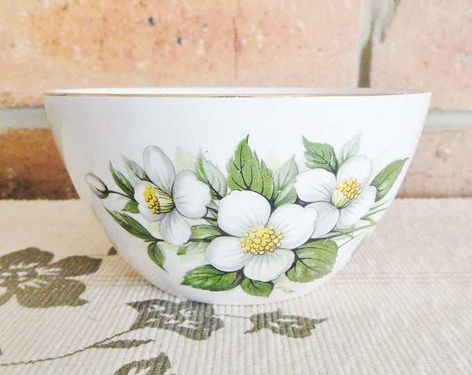 Featured listing image: Ridgway Staffordshire fine bone china vintage mid century small sweets dessert bowl, white tea rose blossom design, gift idea