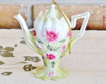 Nini Scalloped ornamental vintage collectible teapot, pink floral design, incense burner, gift idea