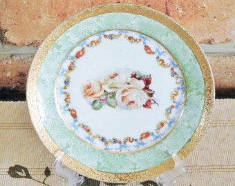 Victorian porcelain side dish floral roses design with thick gold border, unmarked, late 1800s