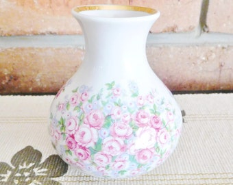 Ceramica Ibis Aveiro Portugal vintage 1980s floral bud vase 24K gilt trim
