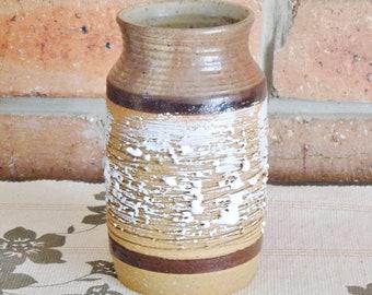 Vintage earthenware pottery vase, white drip glaze pattern, CW mark, 1970s