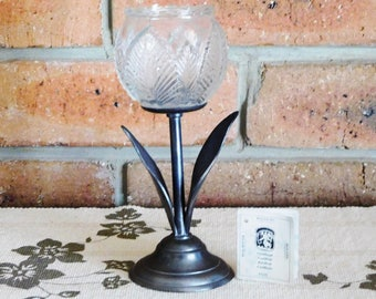 Dutch pewter and glass tulip tea light candle holder, made in Holland, vintage 1970s, certificate included