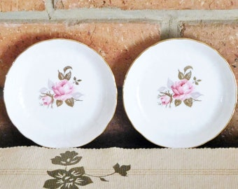 Aynsley 1930s Deco era pin dishes, trinket dishes, butter pats, floral design, gilt finish