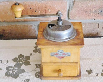 German Kym Mokka wooden coffee grinder, mill; vintage 1940s, movie prop, kitchenalia