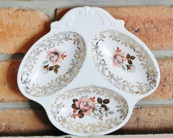 Lord Nelson Pottery 1967 floral roses divided sweets, nuts dish; Art Deco style; high tea, gift idea