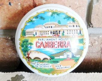 Vintage 1960s unmarked porcelain Canberra souvenir trinket jewelry box