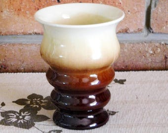 Bakewells Newtone of Sydney 1930s Art Deco era ribbed drip glaze pottery vase, collectable, gift idea