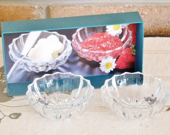 Mikasa vintage 1990s Sunbeam crystal glass condiments, jam, cream small bowls, dishes in original box