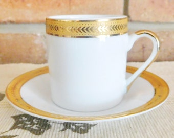 Heidel Confiserie vintage 1980s bone china demitasse espresso tea cup and saucer duo, gold band, made in Germany