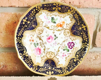 1700s Georgian English Imari-style orphan saucer, floral design, 24K gilded decoration, staple repairs