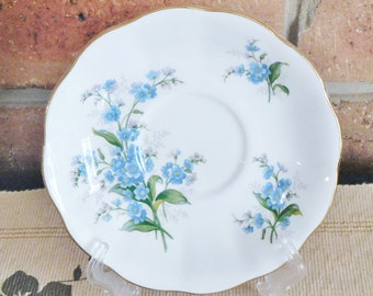 Royal Albert vintage 1950s porcelain replacement, orphan fluted edge saucer, Forget Me Not pattern, high tea