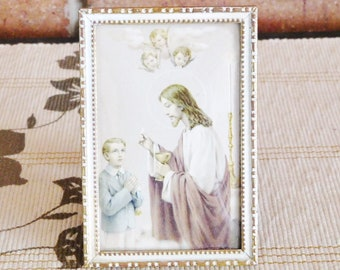 Religious framed holy picture, prayer card, Holy Communion, vintage 1960s