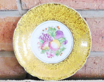 Stanley fine bone china vintage 1950s orphan saucer, chintzy fruit design, high tea
