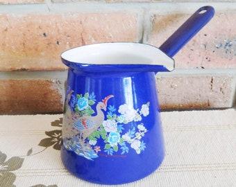 Romanian enamelware Turkish style cobalt blue coffee jug or milk pourer by Ardena, floral bird design, vintage 1990s