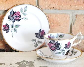 Royal Albert Masquerade vintage porcelain 1950s trio, rose design, collectible, gift idea, high tea