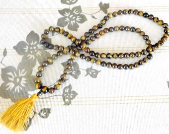 Vintage 1960s solid golden tigers eye bead necklace with tassel, long strand, gift idea