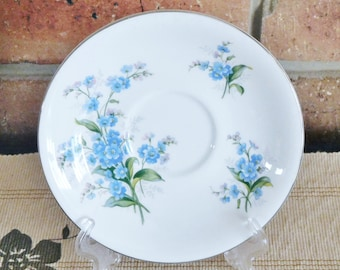Royal Albert vintage early 1960s replacement, orphan 'Forget Me Not' saucer, blue floral design, high tea