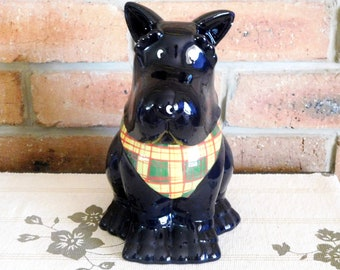 Scottish Terrier 1980s vintage Chinese made black ceramic cookie jar, lid with seal, gift idea