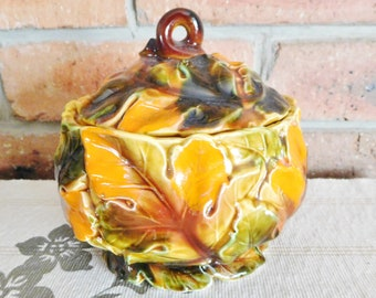 Japanese majolica ceramic covered bowl, falling Autumn leaves design, vintage 1960s, biscuits, sweets, sugar