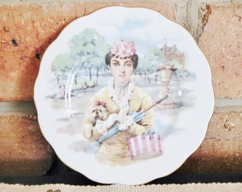 Royal Albert 1960s small decorative collectible display plate featuring girl with parasol