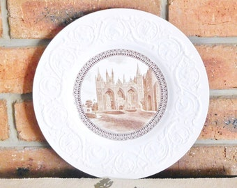 Wedgwood 1970s vintage pearlware style English Cathedrals plate, featuring Peterborough Cathedral, collectable gift idea