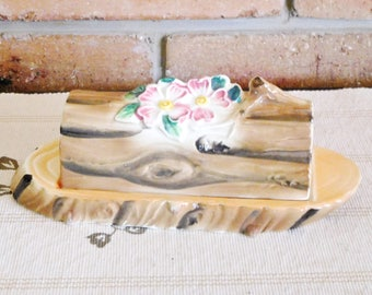 Vintage 1970s kitsch unbranded ceramic butter dish with lid, log with flowers design, kitchenalia, Kris Kringle gift idea