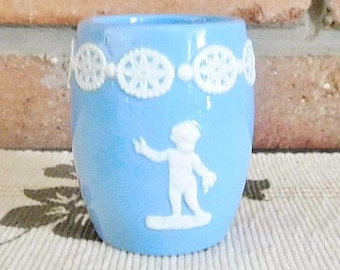 Dudson Hanley blue jasperware toothpick holder, egg cup, vintage 1960s, made in England