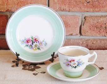 George Clews 1940s Staffordshire floral china trio, high tea, Mother's Day gift idea