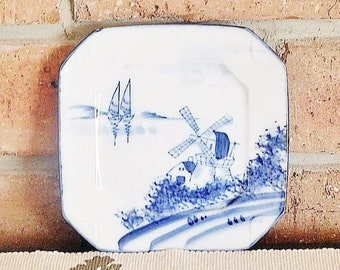 Delft blue and white fine bone china side plate, bread plate, dosplay plate, featuring windmill landscape vintage 1970s; unmarked