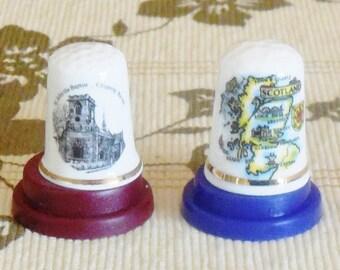 Souvenir fine bone china thimbles Edinburgh Scotland and St John Baptist Church, Chipping Barnet, souvenirware