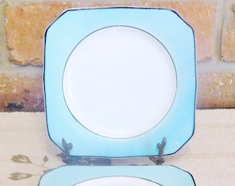 4 Art Deco fine china porcelain side or bread plates turquoise and white made in England