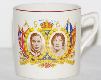 1937 Coronation mug George VI and Queen Elizabeth Royal antique commemorative souvenir