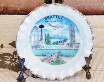 Seattle Washington porcelain souvenir pin dish scenic ware 1960s mid century