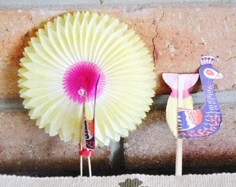 Vintage honeycomb paper Peacock decorations, fold out ornaments, 1960s ephemera