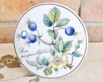 Villeroy and Boch Botanica series Rosa Pimpinellifolia porcelain trinket box, vintage 1980s