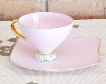Westminster Australia fine bone china pink and white tennis cup and saucer set, vintage mid century chic, high tea