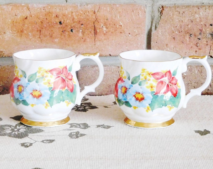 Featured listing image: Queen's Churchill fine bone china 'Melrose' footed tea cups, mugs, floral design, high tea