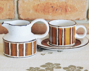 Midwinter Stonehenge Earth vintage 1970s mixed items - creamer, cup and side plate