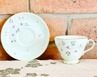 Royal Grafton Studio Craft vintage 1950s mint green fine bone china cup and saucer duo made in England