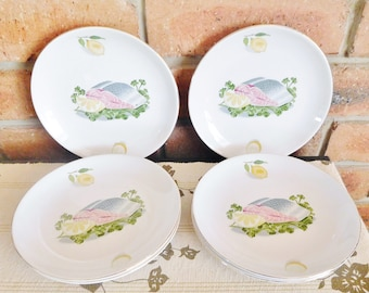 World's Finest Ironstone oven proof set of 6 side plates, made in Japan, cut salmon design motif, 1960s ironstone ware