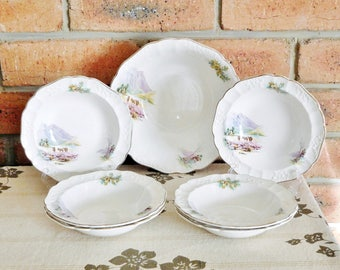 Empire Porcelain Stoke-on-Trent 'Highland Glory' serving bowl, 6 matching dessert sweets bowls, Staffordshire 1958, wedding engagement gift