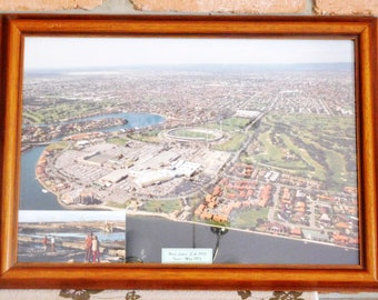 Vintage 1990s professionally framed aerial color photograph of West Lakes, South Australia including Football Park with 1970s inset